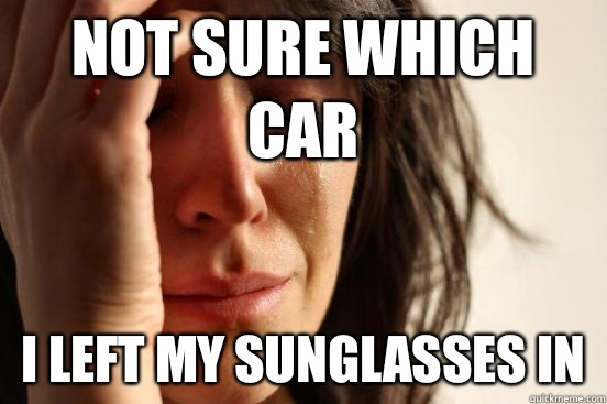 Not sure which car I left my sunglasses in - First World Problems
