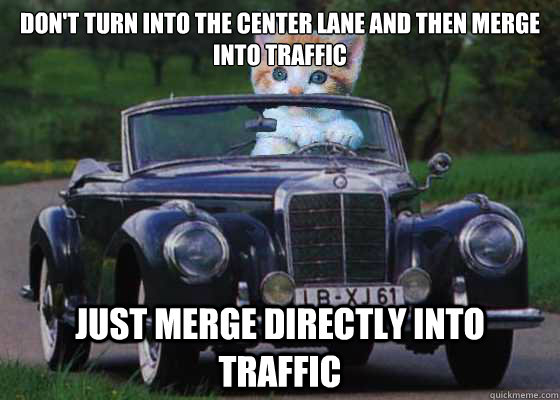 dont turn into the center lane and then merge into traffic  - Driving Advice Kitten