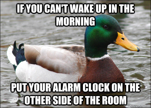 if you cant wake up in the morning put your alarm clock on  - Actual Advice Mallard