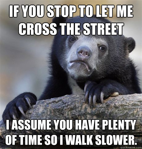 if you stop to let me cross the street i assume you have ple - Confession Bear