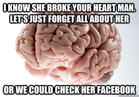 i know she broke your heart man lets just forget all about - Scumbag Brain
