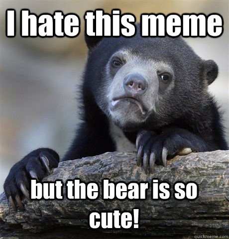 i hate this meme but the bear is so cute - Confession Bear