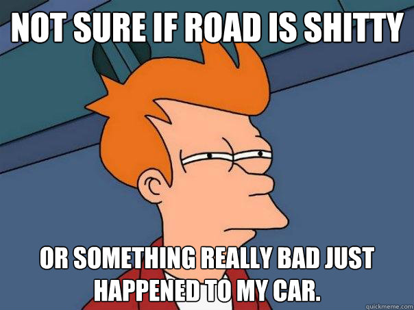 not sure if road is shitty or something really bad just happ - Futurama Fry