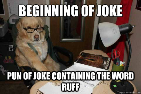 beginning of joke pun of joke containing the word ruff - Financial Advice Dog
