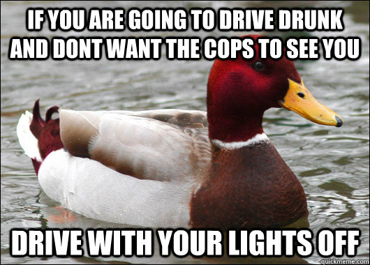 if you are going to drive drunk and dont want the cops to se - Malicious Advice Mallard