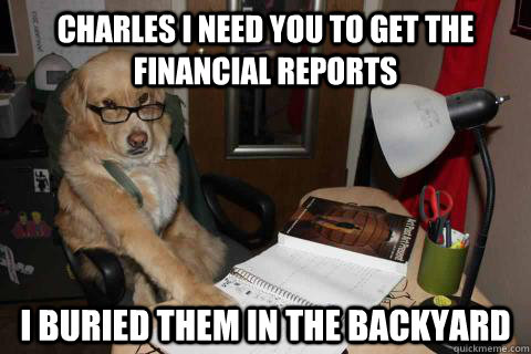 charles i need you to get the financial reports i buried the - Financial Advice Dog