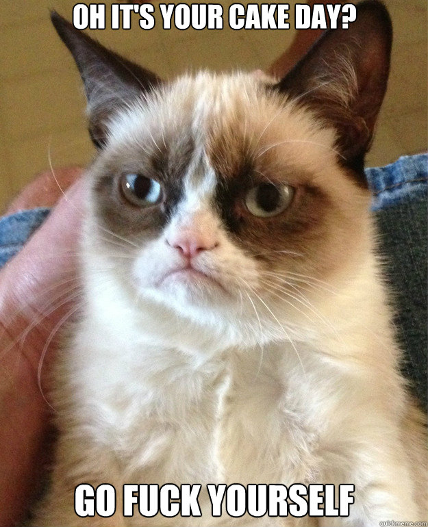 oh its your cake day go fuck yourself - Grumpy Cat
