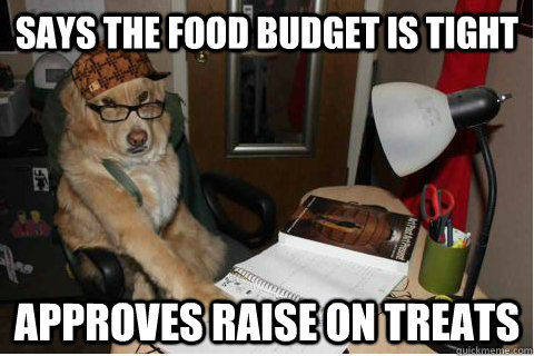 says the food budget is tight approves raise on treats -