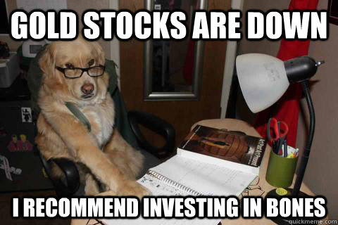 gold stocks are down i recommend investing in bones - Financial Advice Dog