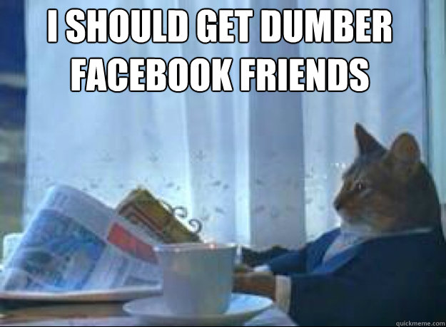 i should get dumber facebook friends  - I should buy a boat cat