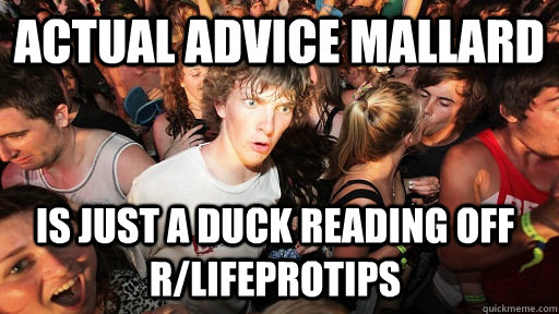 actual advice mallard is just a duck reading off rlifeproti - Sudden Clarity Clarence