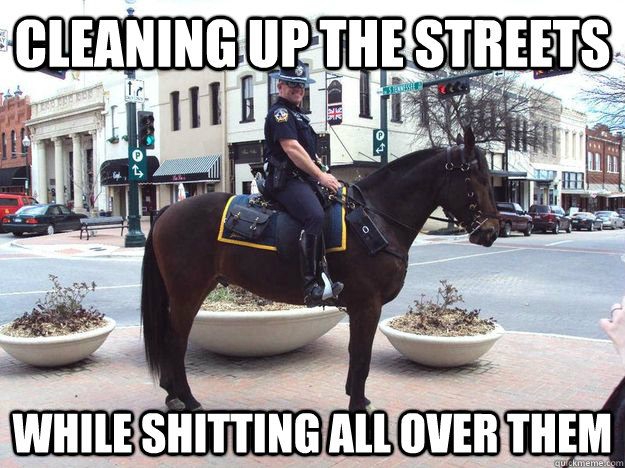 cleaning up the streets while shitting all over them - Horse Cop