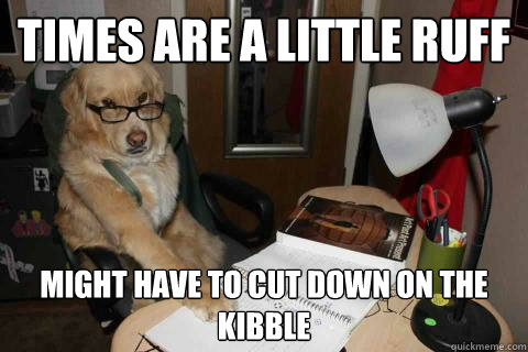 times are a little ruff might have to cut down on the kibble - Financial Advice Dog