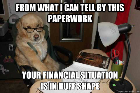 from what i can tell by this paperwork your financial situat - Financial Advice Dog