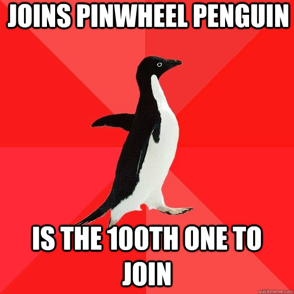 joins pinwheel penguin is the 100th one to join - Socially Awesome Penguin