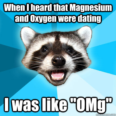 when i heard that magnesium and oxygen were dating i was li - Lame Pun Coon