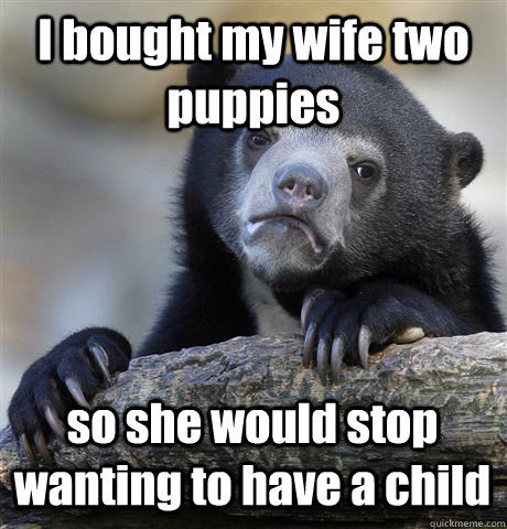 i bought my wife two puppies so she would stop wanting to ha - Confession Bear