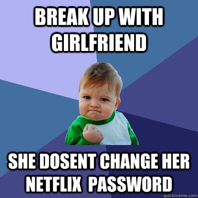 break up with girlfriend she dosent change her netflix pass - Success Kid