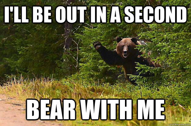 ill be out in a second bear with me - waving bear