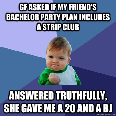 gf asked if my friends bachelor party plan includes a strip - Success Kid