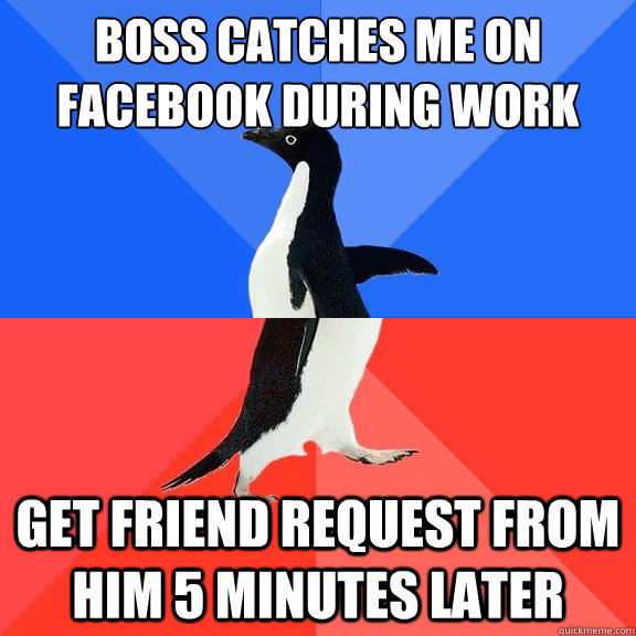 boss catches me on facebook during work get friend request f - Socially Awkward Awesome Penguin