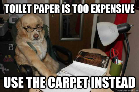 toilet paper is too expensive use the carpet instead  - Financial Advice Dog