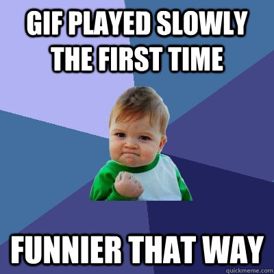 gif played slowly the first time funnier that way - Success Kid