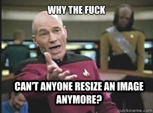 why the fuck cant anyone resize an image anymore  - Annoyed Picard