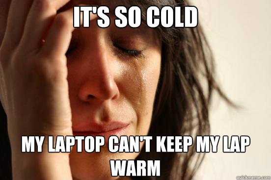 its so cold my laptop cant keep my lap warm - First World Problems