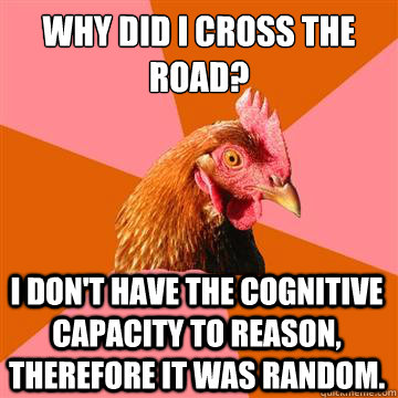 why did i cross the road i dont have the cognitive capacit - Anti-Joke Chicken