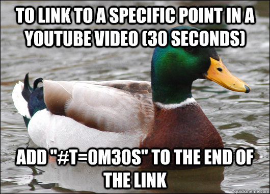 to link to a specific point in a youtube video 30 seconds  - Actual Advice Mallard
