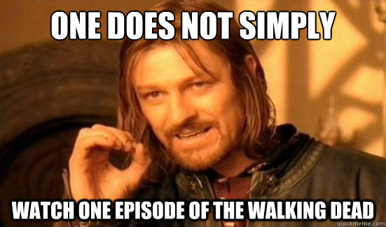 one does not simply watch one episode of the walking dead - Boromir