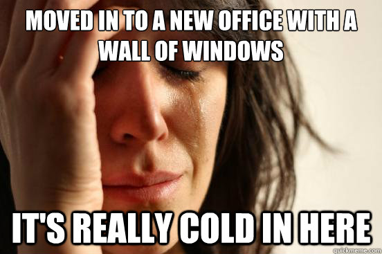 moved in to a new office with a wall of windows its really  - First World Problems