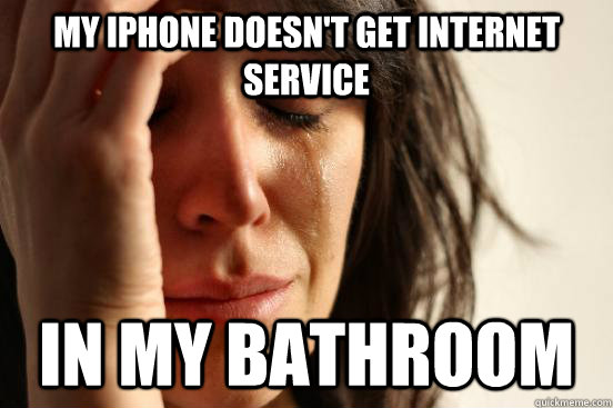 my iphone doesnt get internet service in my bathroom - First World Problems