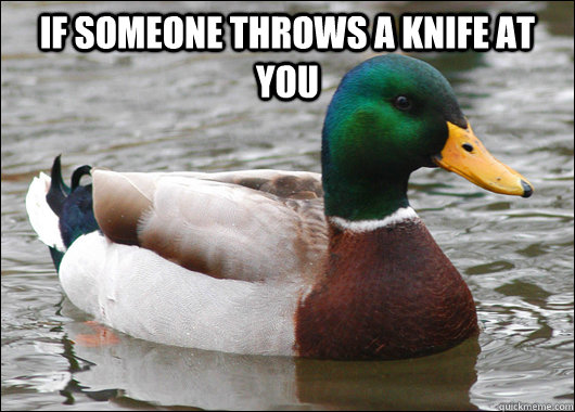 if someone throws a knife at you  - Actual Advice Mallard
