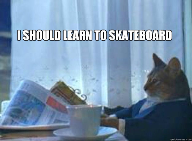 i should learn to skateboard  - I should buy a boat cat