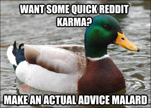 want some quick reddit karma make an actual advice malard - Actual Advice Mallard