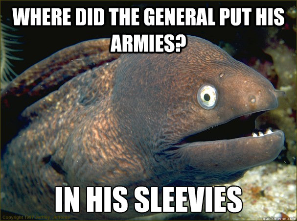 where did the general put his armies in his sleevies - Bad Joke Eel