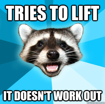 tries to lift it doesnt work out - Lame Pun Coon