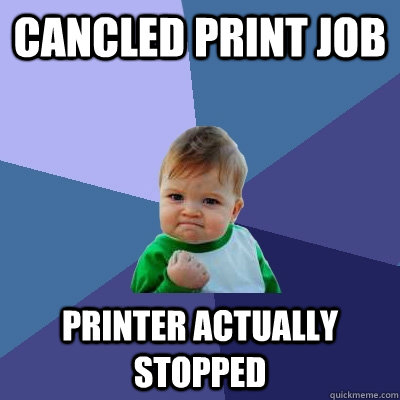cancled print job printer actually stopped - Success Kid