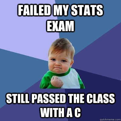 failed my stats exam still passed the class with a c - Success Kid