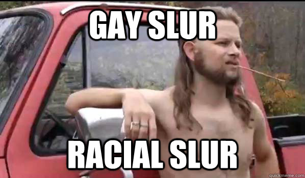 gay slur racial slur - Almost Politically Correct Redneck