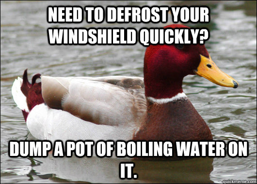 need to defrost your windshield quickly dump a pot of boili - Malicious Advice Mallard
