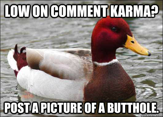 low on comment karma post a picture of a butthole - Malicious Advice Mallard