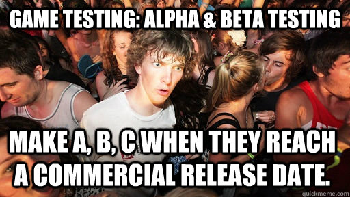 game testing alpha beta testing make a b c when they re - Sudden Clarity Clarence