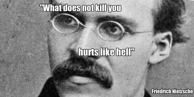 what does not kill you hurts like hell fr - Friedrich Nietzsche Insanity