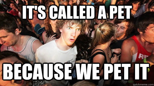 its called a pet because we pet it - Sudden Clarity Clarence