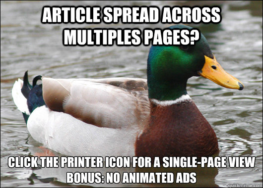 article spread across multiples pages click the printer ico - Actual Advice Mallard
