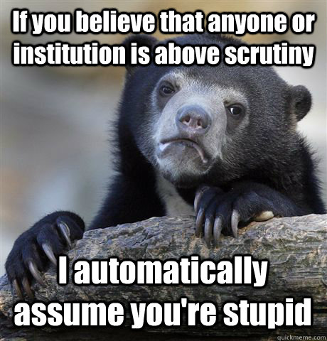 if you believe that anyone or institution is above scrutiny  - Confession Bear