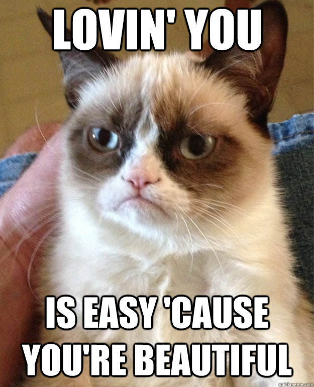 lovin you is easy cause youre beautiful - Grumpy Cat
